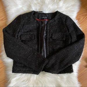 Cynthia Rowley Tweed Black Sparkle Pocket Blazer
